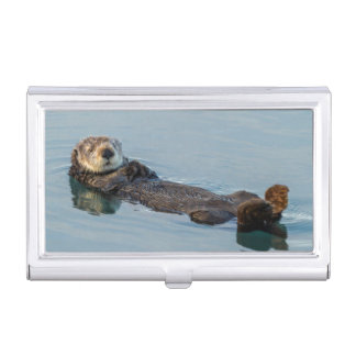 Sea otter floating on back in ocean business card holders