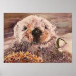 Sea Otter In Kelp Watercolor Artwork Canvas Print