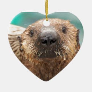 Sea otter love ceramic ornament