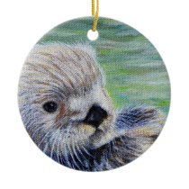 Sea Otter Painting Ceramic Ornament