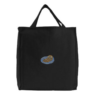 Sea Otter Pup Embroidered Tote Bag