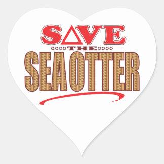 Sea Otter Save Heart Sticker