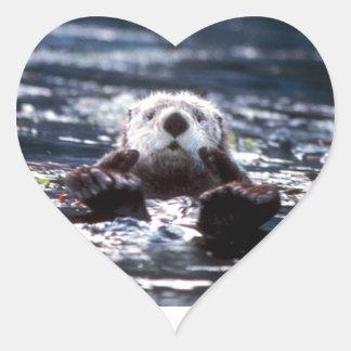 Sea Otter Swimming Heart Sticker
