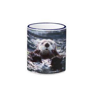 Sea Otter Swimming Ringer Coffee Mug