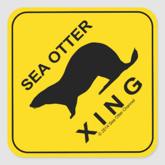 Sea Otter Xing Square Sticker