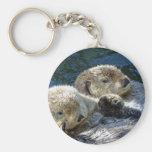 Sea-otters Basic Round Button Keychain