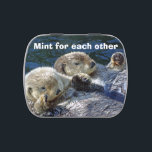 """Sea-otters candy tin<br><div class=""""desc"""">Candy tin with photo of sea-otters and words 'Mint for each other' from New Forest Pics</div>"""