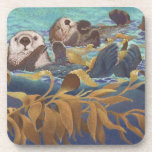 "Sea Otters Drink Coaster<br><div class=""desc"">sea otters &quot;Keepers of the Kelp&quot;</div>"