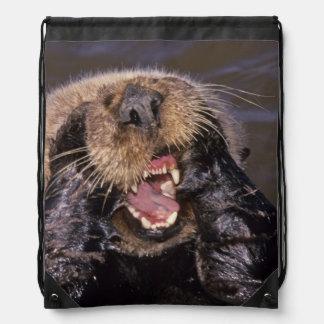 Sea Otters, Enhydra lutris 6 Drawstring Backpacks