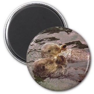 Sea Otters Holding Hands 2 Inch Round Magnet