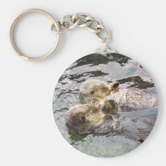 Sea Otters Holding Hands Basic Round Button Keychain