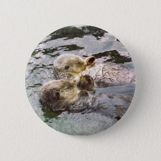 Sea Otters Holding Hands Button