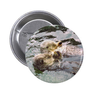 Sea Otters Holding Hands Pin