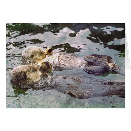 Sea Otters Holding Hands Greeting Card