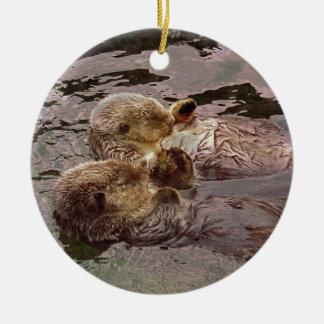 Sea Otters Holding Hands Ceramic Ornament