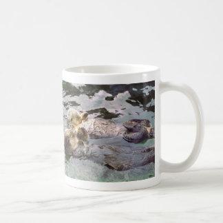 Sea Otters Holding Hands Classic White Coffee Mug