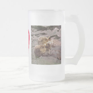Sea Otters Holding Hands Frosted Glass Beer Mug