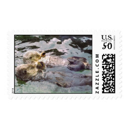 Sea Otters Holding Hands Postage