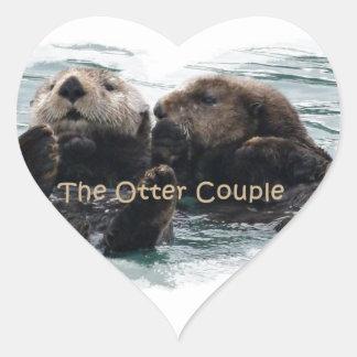 Sea Otters in a heart Heart Sticker