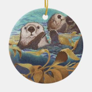 sea otters christmas tree ornaments