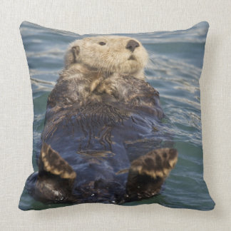 Sea otters play on icebergs at Surprise Inlet Throw Pillow