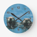 Sea Otters Round Clock