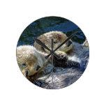 Sea-otters Round Wall Clock