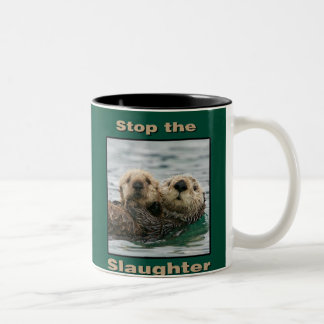 Sea Otters - Stop the Slaughter Two-Tone Coffee Mug