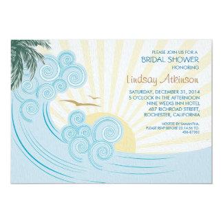 Sea palms beach bridal shower invitations