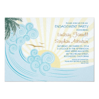 Sea palms beach engagement party invitations