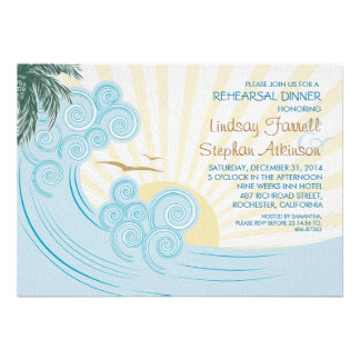 Sea palms beach rehearsal dinner invitations