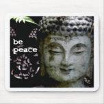 Sea paz - Buda sereno haga frente - negro/blanco Tapete De Ratones
