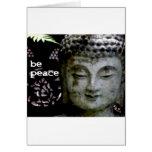 Sea paz - Buda sereno haga frente - negro/blanco Tarjetas