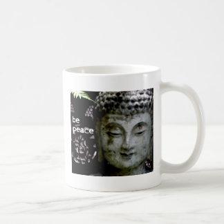Sea paz - Buda sereno haga frente - negro/blanco Tazas