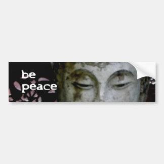 """""""Sea paz"""" Buda sereno (negro/el blanco) Pegatina De Parachoque"""