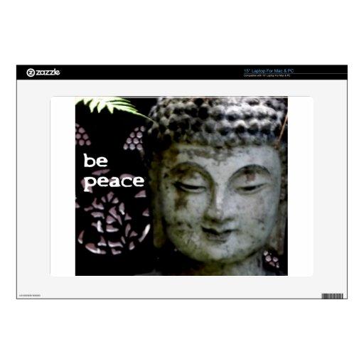 """""""Sea paz"""" Buda sereno (negro/el blanco) Portátil Calcomanía"""