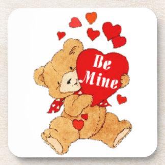 Sea peluche de la tarjeta del día de San Valentín  Posavasos