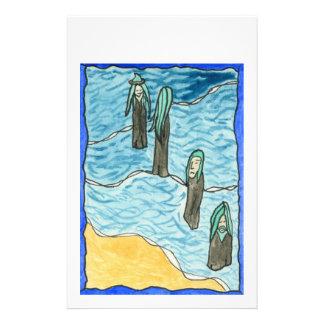 Sea People. Figures standing in surf. Flyer