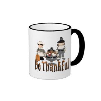 sea peregrinos agradecidos de la acción de gracias taza a dos colores