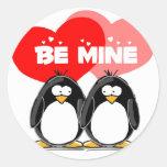 Sea pingüinos de la mina pegatina redonda