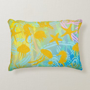 """Beach Themed Sea Polyester Accent Pillow 16"""" x 12"""""""