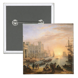 Sea Port at Sunset, 1639 Pinback Button