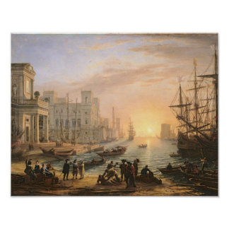 Sea Port at Sunset, 1639 Poster
