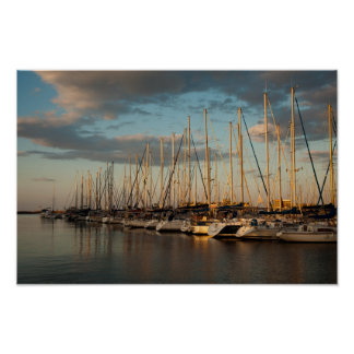 Sea port at sunset poster