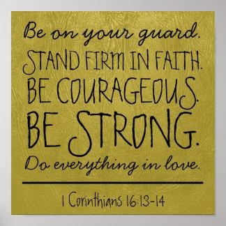 Sea poster valeroso y fuerte del verso de la bibli
