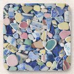 Sea pottery, beach glass, blue photo coasters