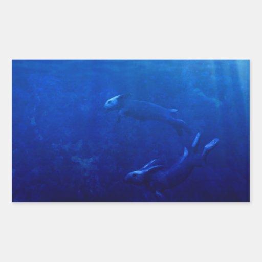 Sea Rabbits Dance Beneath the Waves Rectangular Sticker