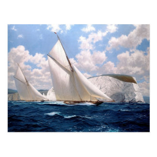 Sea racing near the chalky cliffs postcard