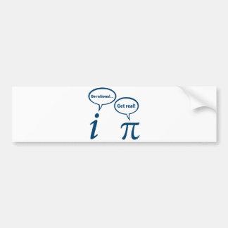 Sea racional consiguen la matemáticas imaginaria pegatina para auto