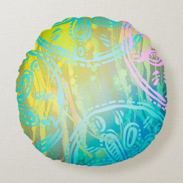 """Beach Themed Sea rainbow Round Throw Pillow (16"""")"""
